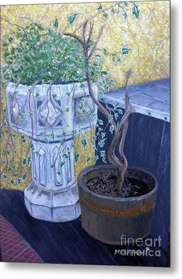 Metal Print featuring the painting Sean's Planter by Brenda Brown