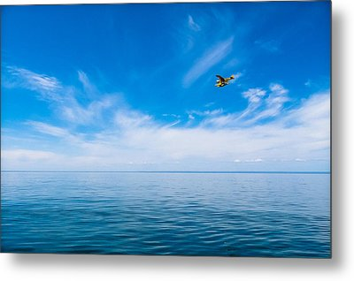 Metal Print featuring the photograph Seaplane Over Lake Superior   by Lars Lentz