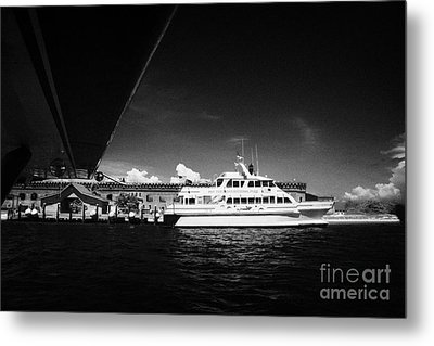 Seaplane Passing Ferry And Dock At Fort Jefferson Dry Tortugas National Park Florida Keys Usa Metal Print by Joe Fox