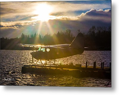 Seaplane Sunset Metal Print