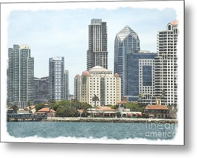 Seaport Village And Downtown San Diego Watercolor Metal Print by Claudia Ellis