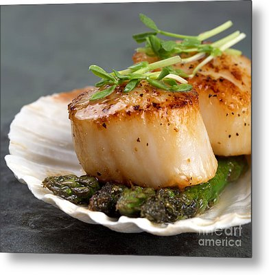 Seared Scallops Metal Print