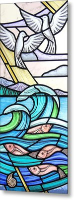 Metal Print featuring the glass art Seascape by Gilroy Stained Glass