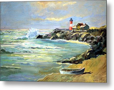 Seascape Lighthouse By Mary Krupa Metal Print by Bernadette Krupa