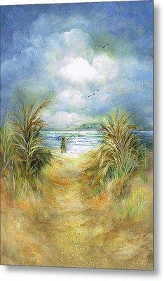 Seascape With Fisherman Metal Print by Nancy Gorr