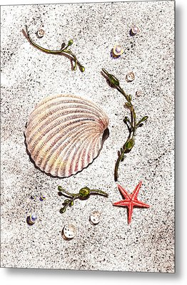 Seashell Sea Star And Pearls On The Beach Metal Print by Irina Sztukowski