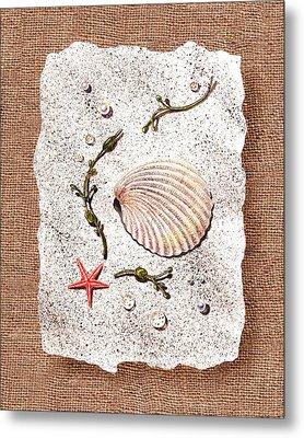Seashell With Pearls Sea Star And Seaweed  Metal Print by Irina Sztukowski