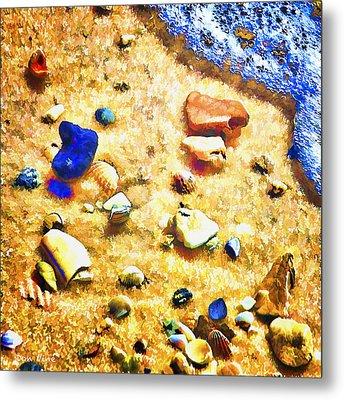 Seashells And Surf Metal Print