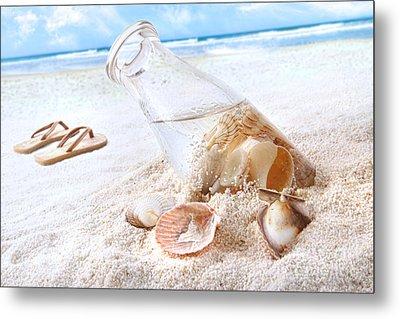Seashells In A Bottle On The Beach Metal Print by Sandra Cunningham