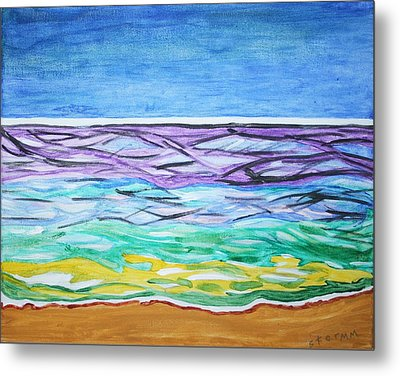 Metal Print featuring the painting Seashore Blue Sky by Stormm Bradshaw