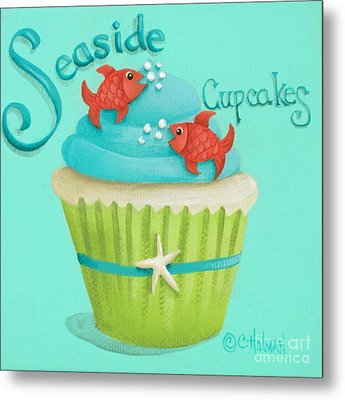 Seaside Cupcakes Metal Print by Catherine Holman
