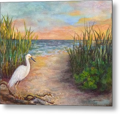 Seaside Dining Metal Print by Annie St Martin