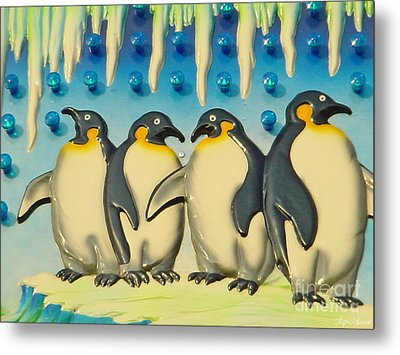 Seaside Funtown Penguins Metal Print