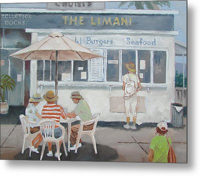 Metal Print featuring the painting Seaside Lunch by Tony Caviston
