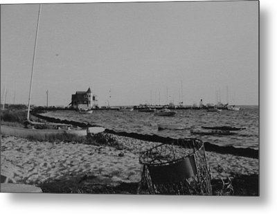 Seaside Park Nj Yacht Club Bw Metal Print by Joann Renner