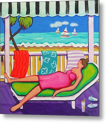 Seaside Siesta Metal Print by Rebecca Korpita