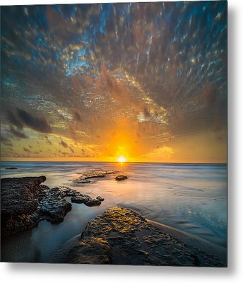 Seaside Sunset - Square Metal Print by Larry Marshall