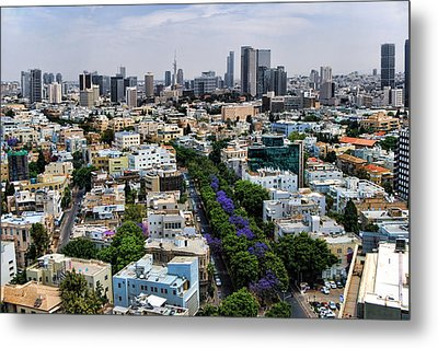 Metal Print featuring the photograph season change at Rothschild boulevard  by Ron Shoshani