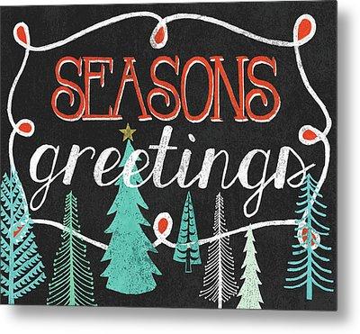 Seasons Greetings Black Metal Print by Mary Urban