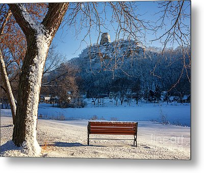 Seat With A View In Winter Metal Print