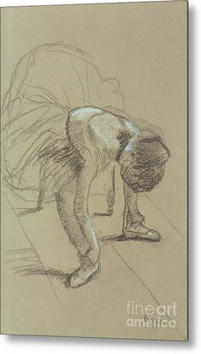 Seated Dancer Adjusting Her Shoes Metal Print by Edgar Degas