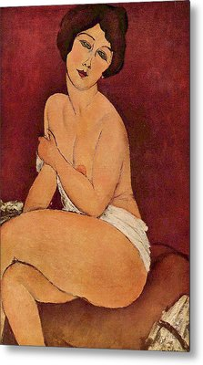 Seated Female Nude Metal Print by Amedeo Modigliani