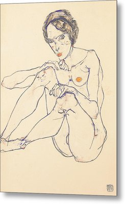 Seated Female Nude Metal Print by Egon Schiele