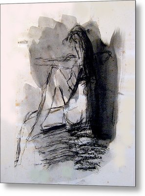 Seated Figure Ink Wash Metal Print by James Gallagher