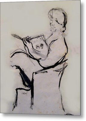 Seated Figure Reading Metal Print by James Gallagher