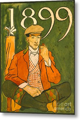 Seated Golfer 1899 Metal Print by Padre Art