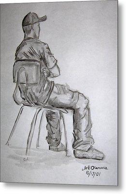 Seated Man In Ball Cap Metal Print by Jeffrey Oleniacz