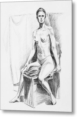 Seated Model Drawing  Metal Print