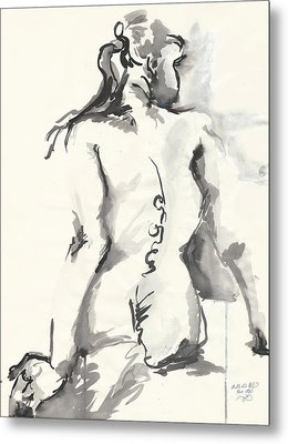 Seated Nude Metal Print by Melinda Dare Benfield
