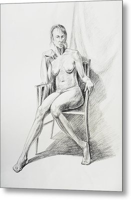 Seated Nude Model Study Metal Print