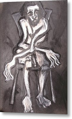 Metal Print featuring the drawing Seated Nude Old Man by Kenneth Agnello