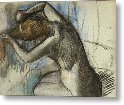 Seated Nude Woman Brushing Her Hair Metal Print by Edgar Degas