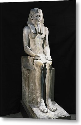 Seated Statue Of Sesostris I. 1971 Metal Print by Everett