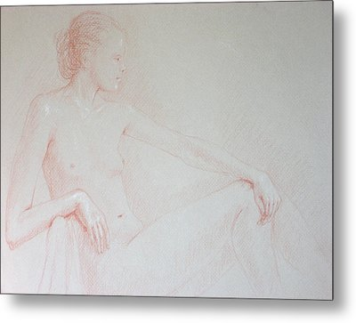Seated Woman Metal Print by Deborah Dendler