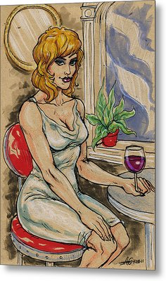Seated Woman With Wine Metal Print