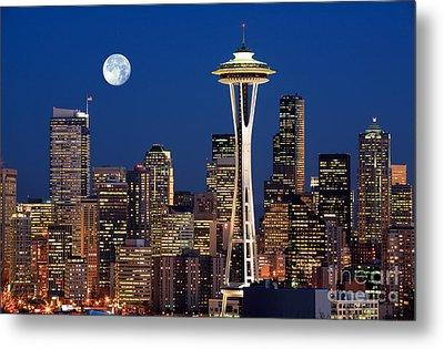 Seattle At Full Moon Metal Print by Inge Johnsson