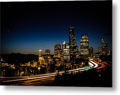 Seattle At Night Metal Print by Brian Xavier
