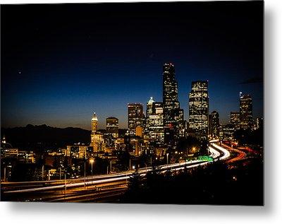 Seattle At Night Metal Print by Brian Xavier