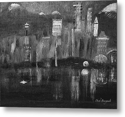 Seattle Black And White Metal Print by Dick Bourgault