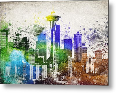 Seattle City Skyline Metal Print by Aged Pixel