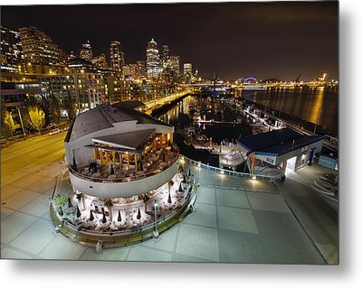 Metal Print featuring the photograph Seattle City Skyline And Marina At Night by JPLDesigns