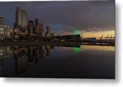 Seattle Cityscape And The Wheel Metal Print by Mike Reid
