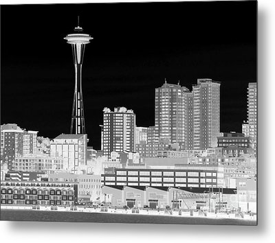 Seattle Cityscape - Bw Negative Metal Print by Connie Fox