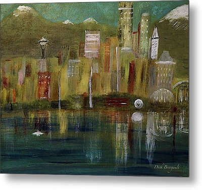 Seattle Cityscape Metal Print by Dick Bourgault