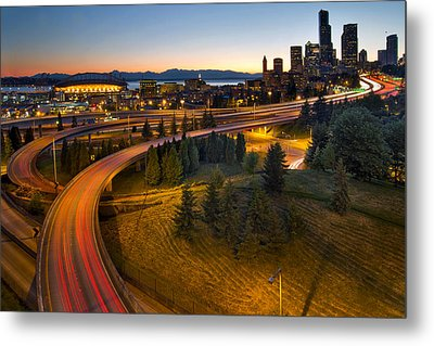 Metal Print featuring the photograph Seattle Downtown Highway Traffic Light Trails by JPLDesigns