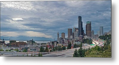 Metal Print featuring the photograph Seattle Downtown Skyline And Freeway Panorama by JPLDesigns
